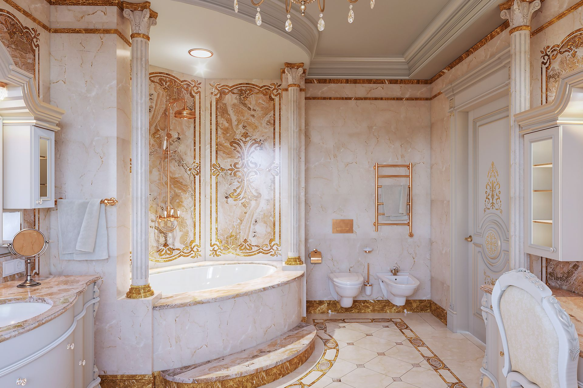 Design project of a luxury bathroom