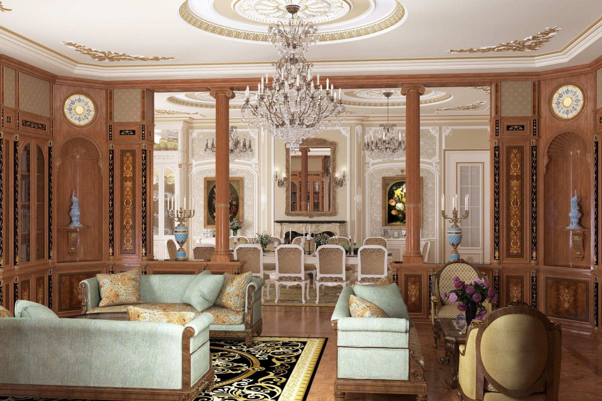 Beautiful living room in palace style