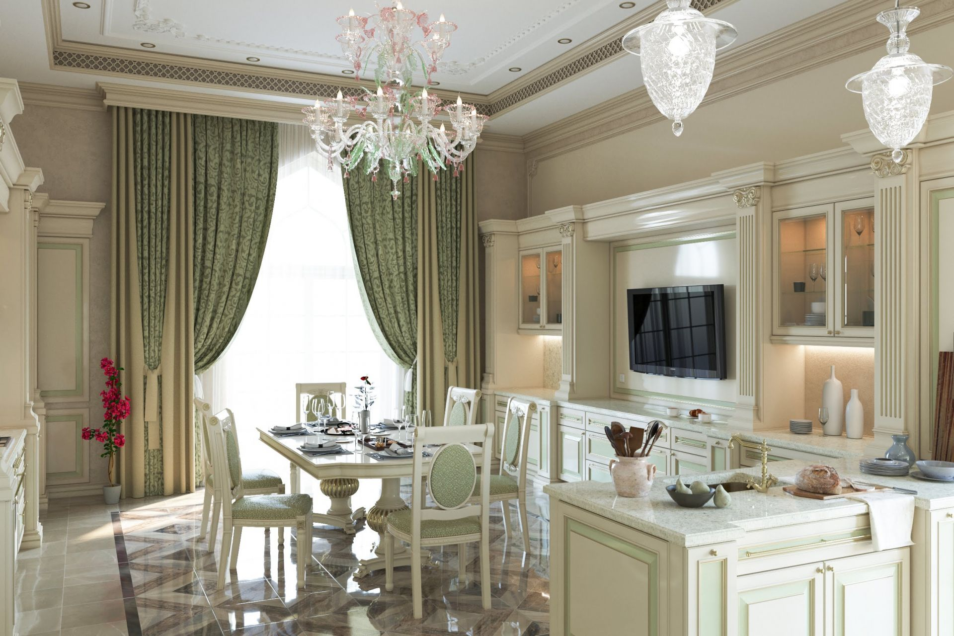 Kitchen-diner interior in classic style