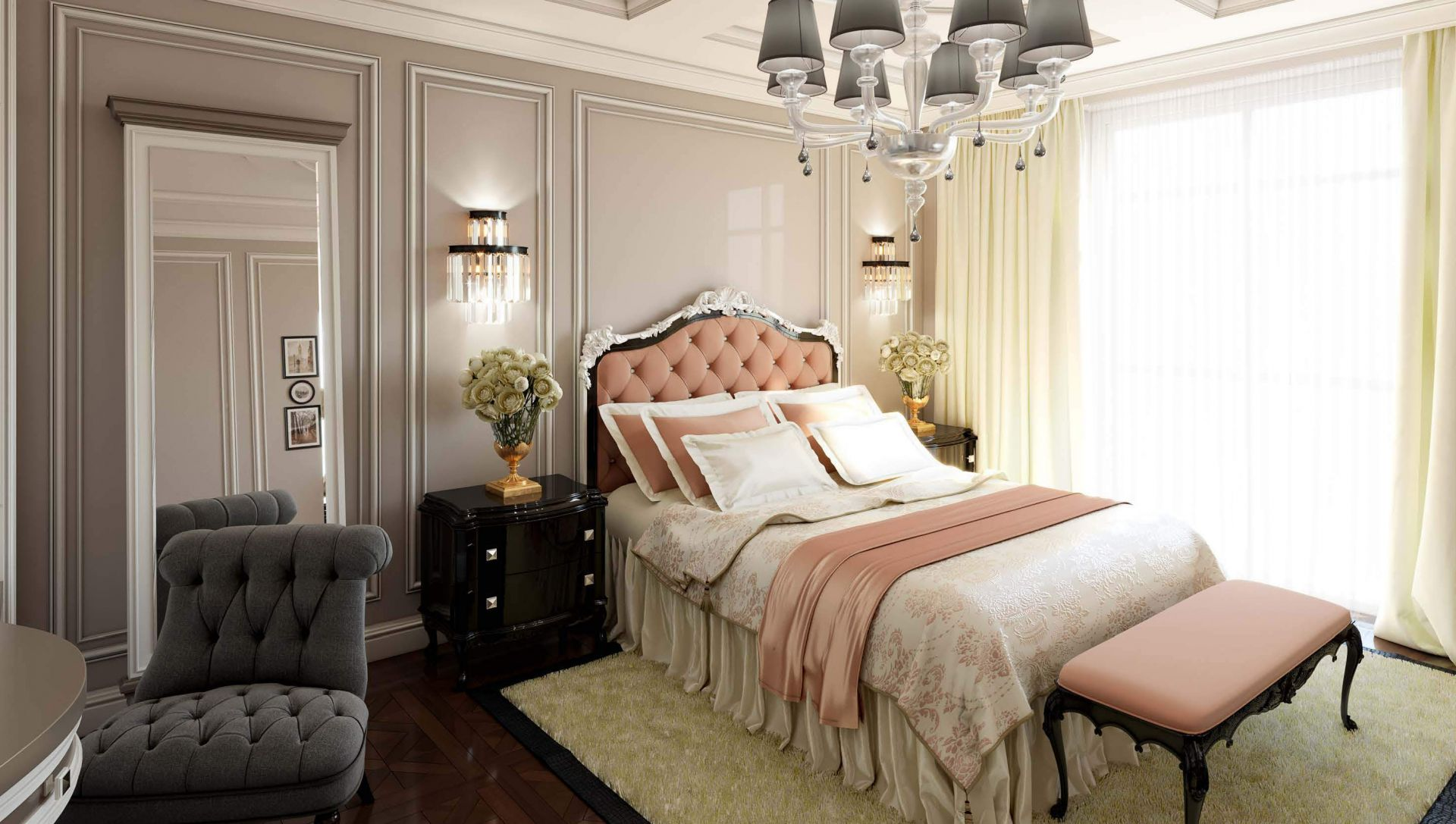 Neoclassical style bedroom design