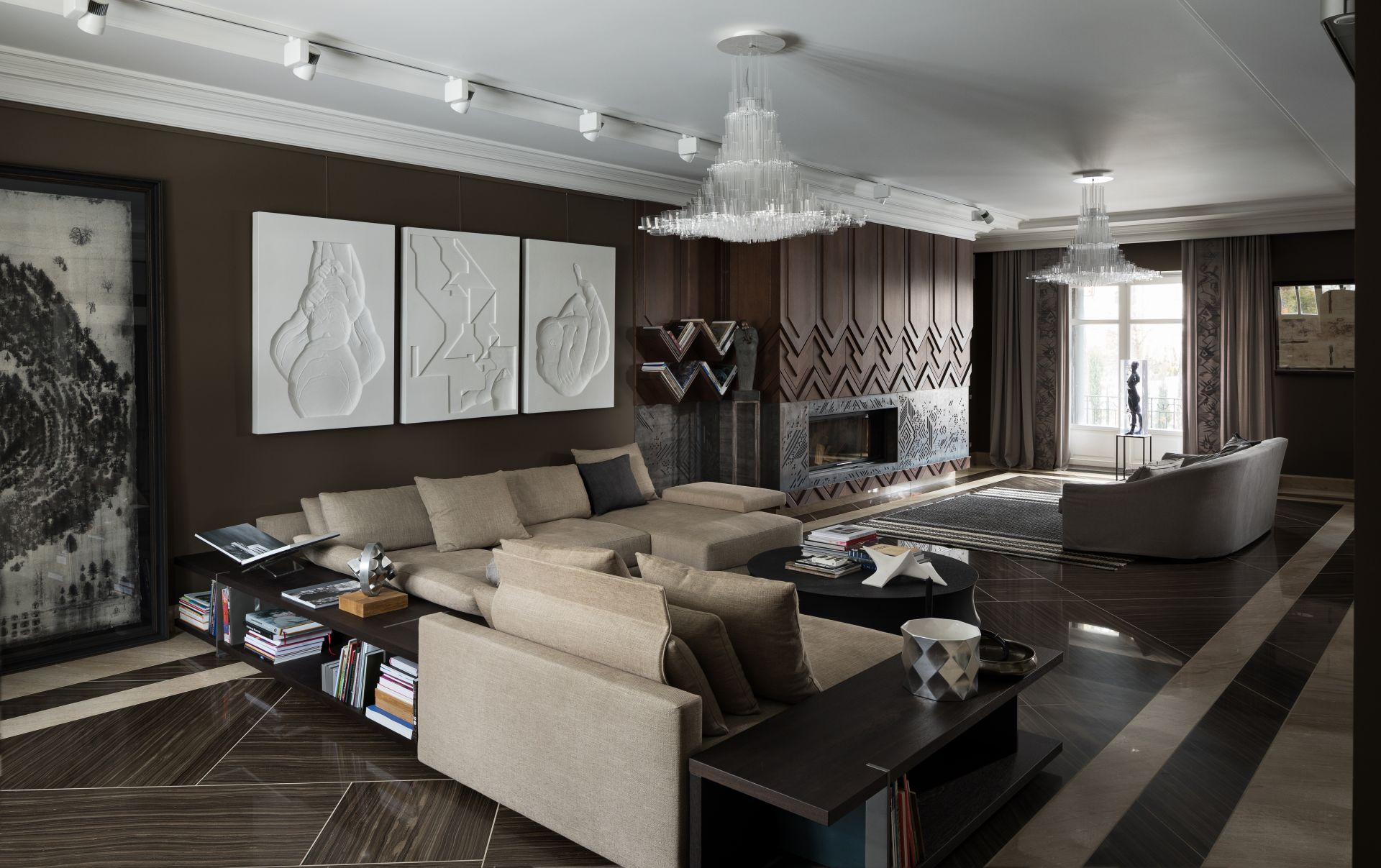 Wooden panels in a living room interior