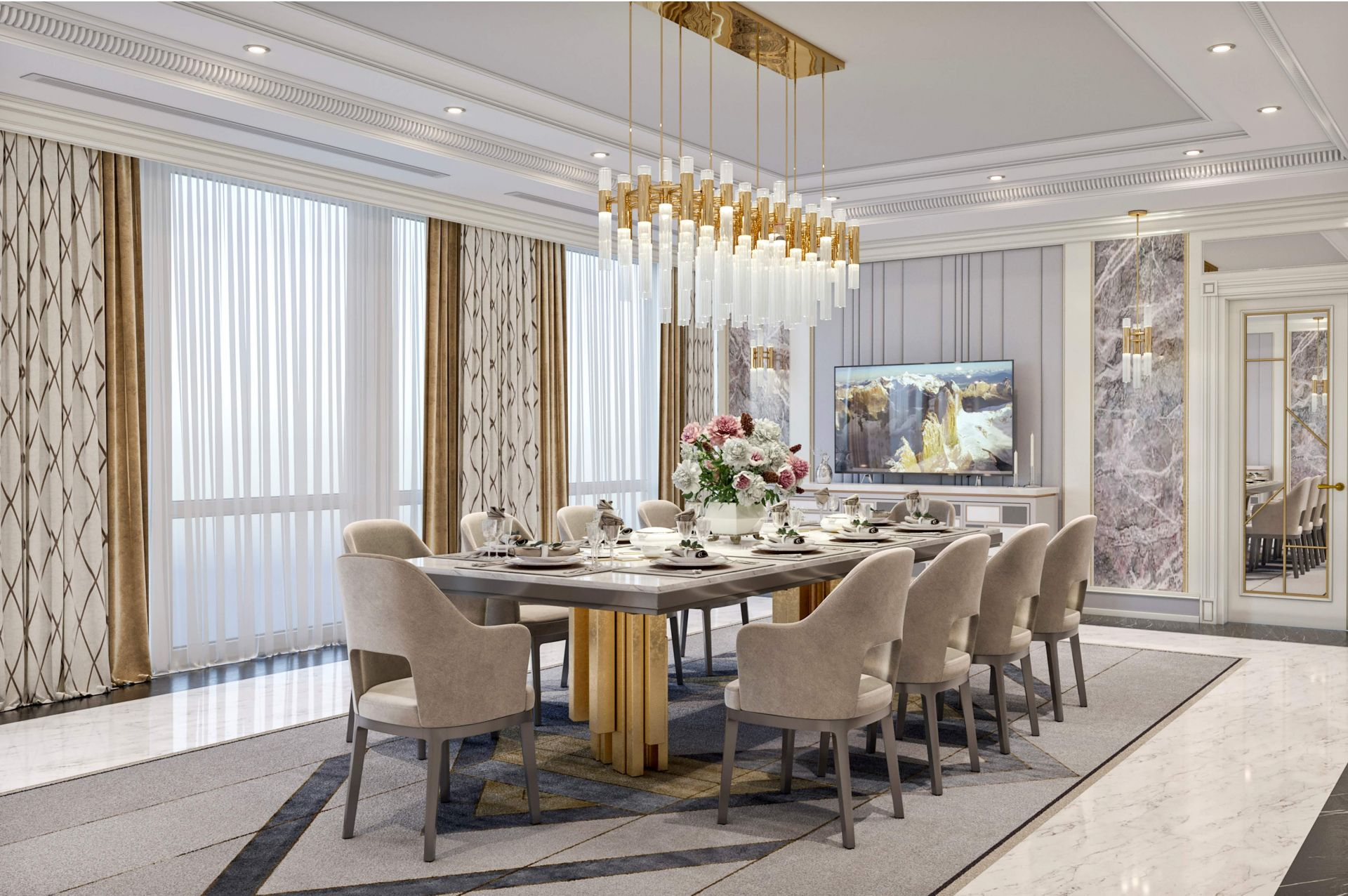 Living-dining room in the Hilton Hotel