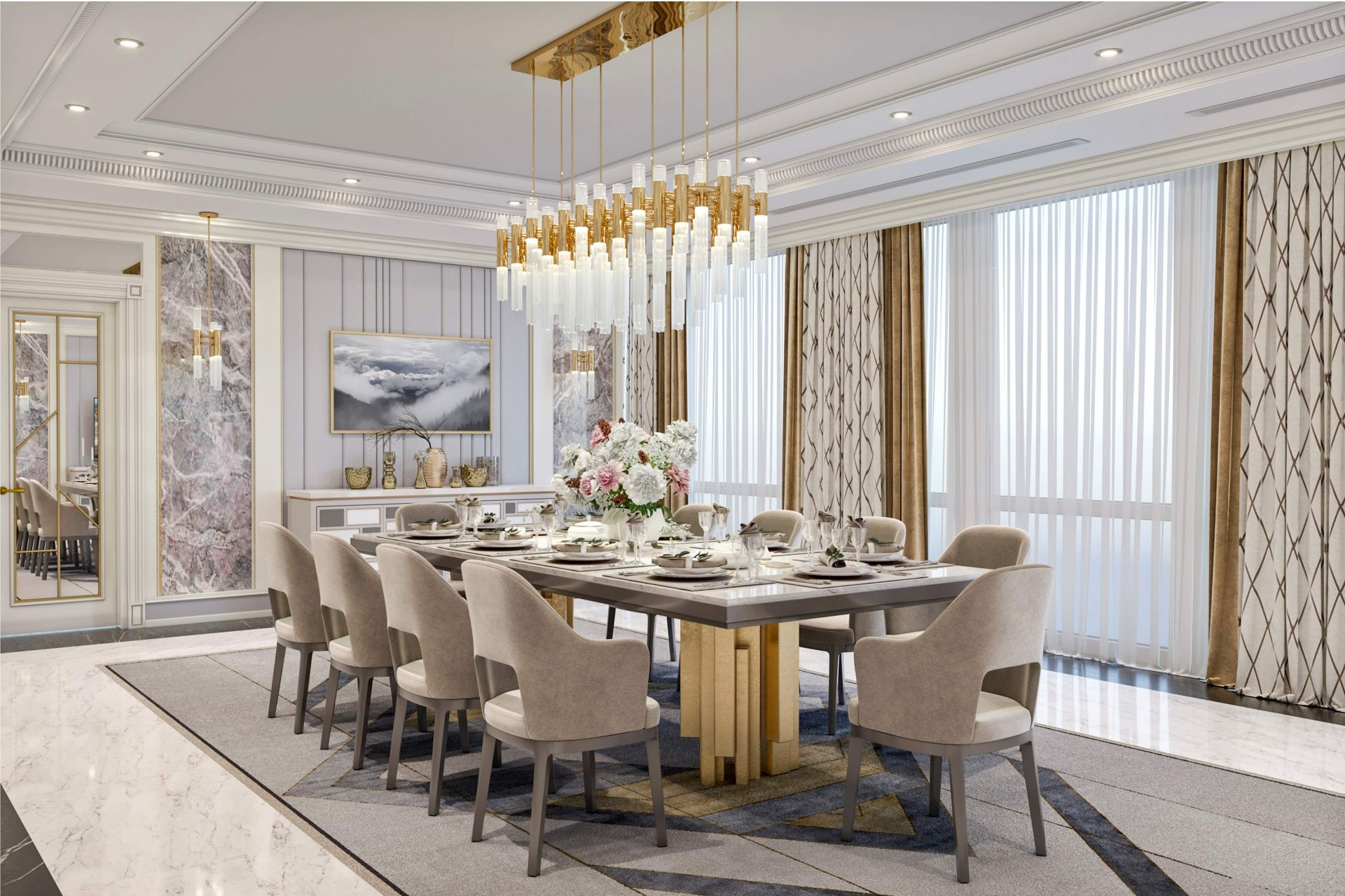 Design project of the living-dining room in the Hilton Hotel