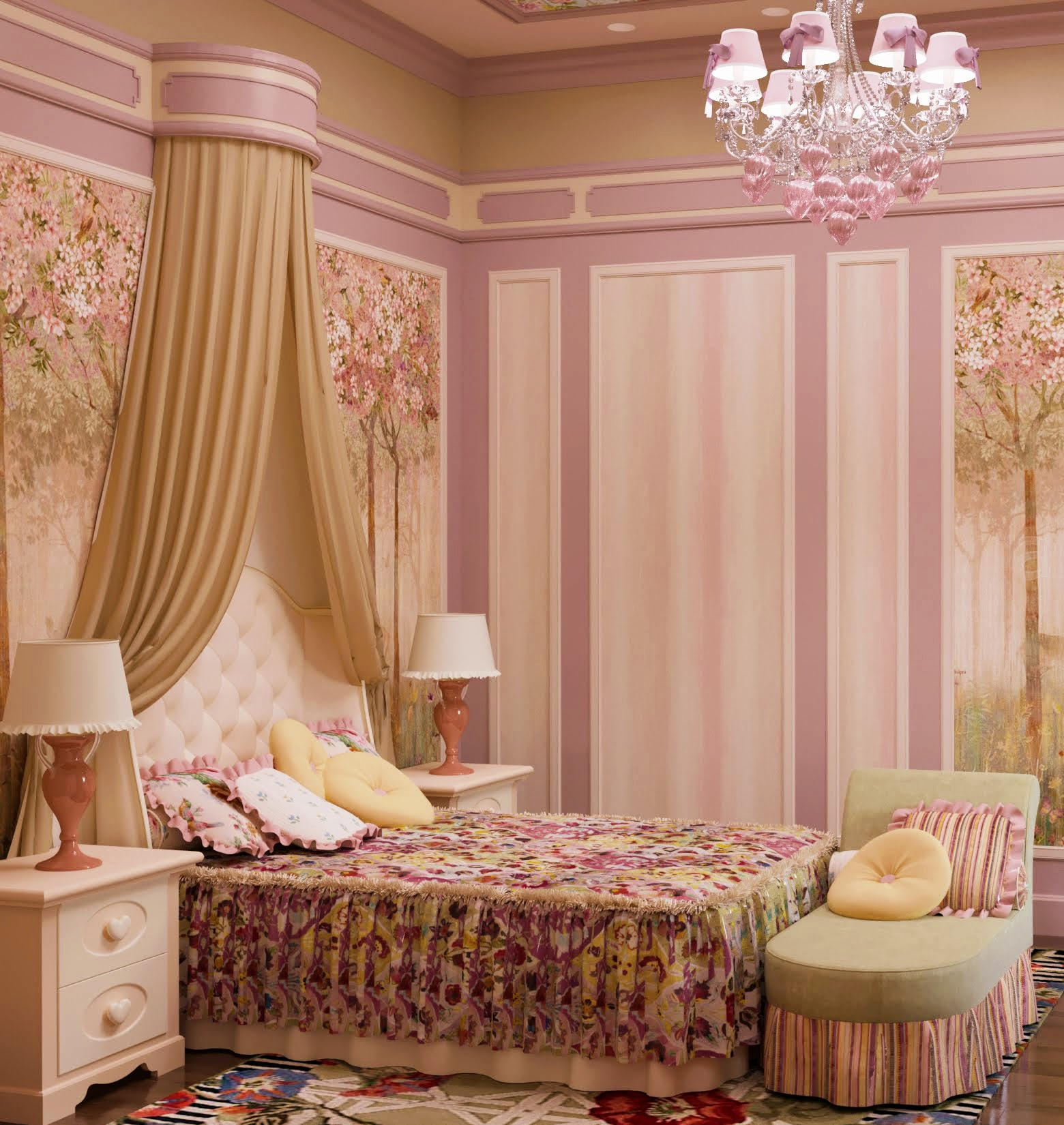 Textile design in a bedroom decoration