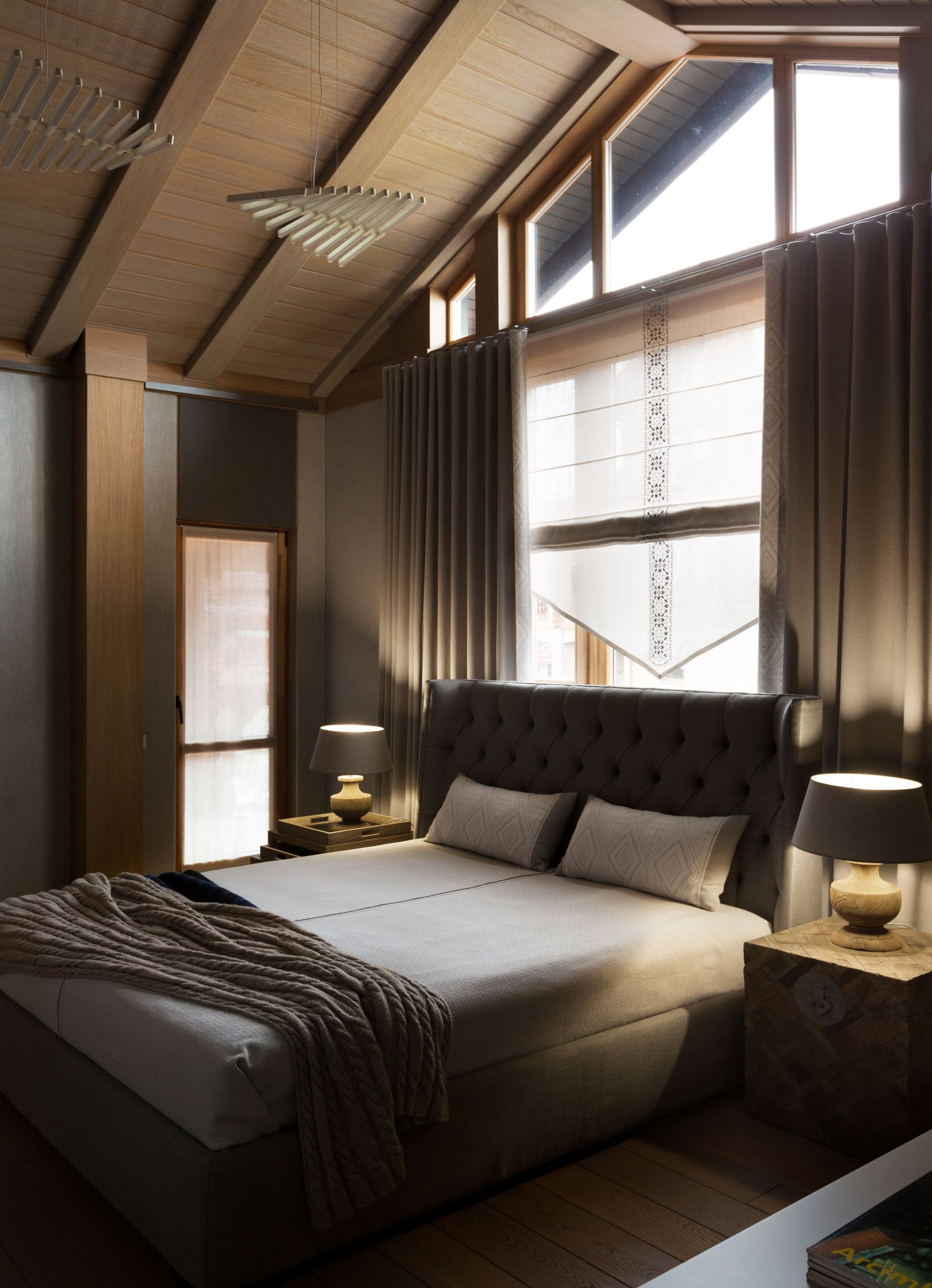 Modern bedroom with timbered interior