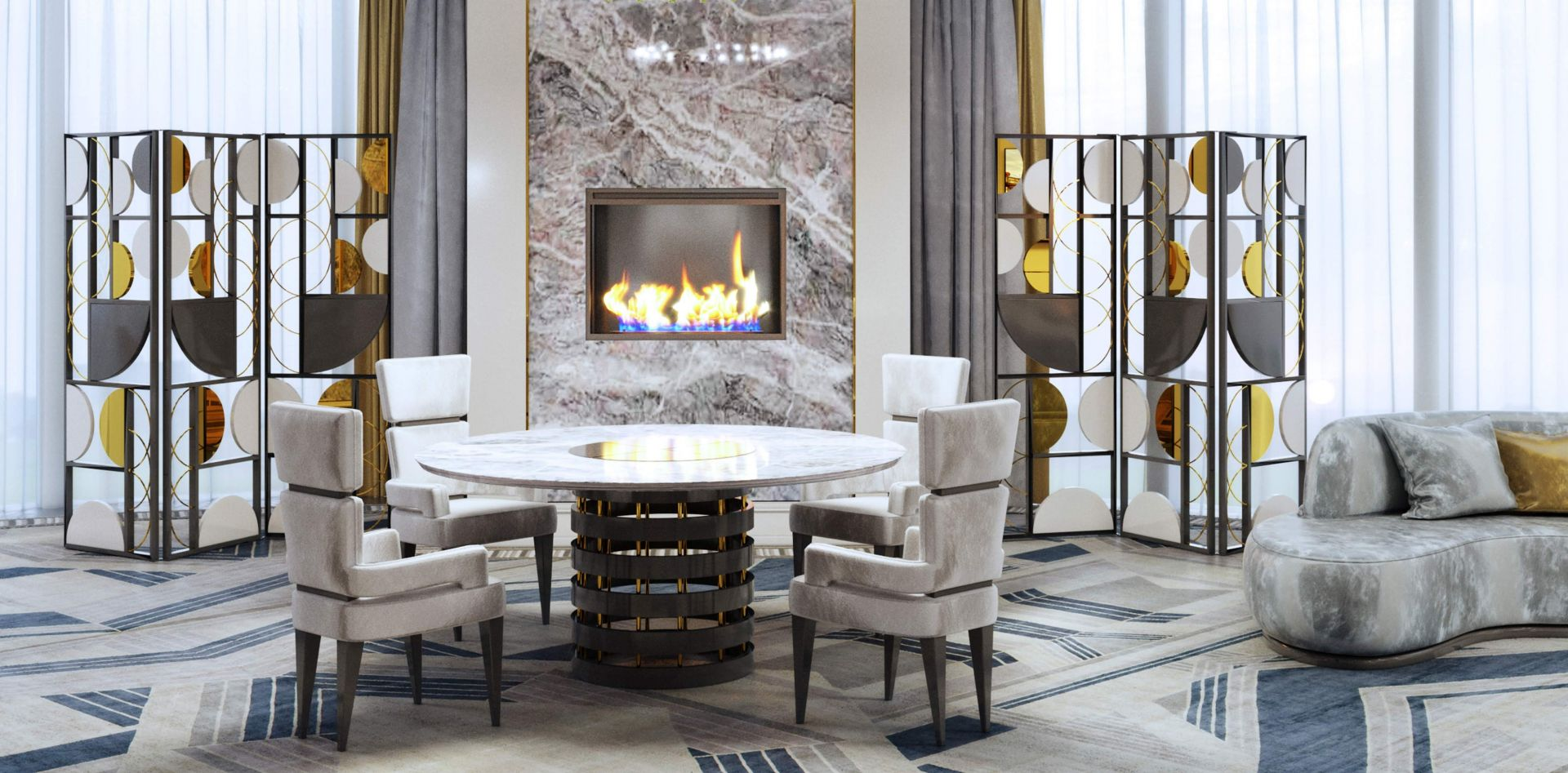 Fireplace in a modern interior