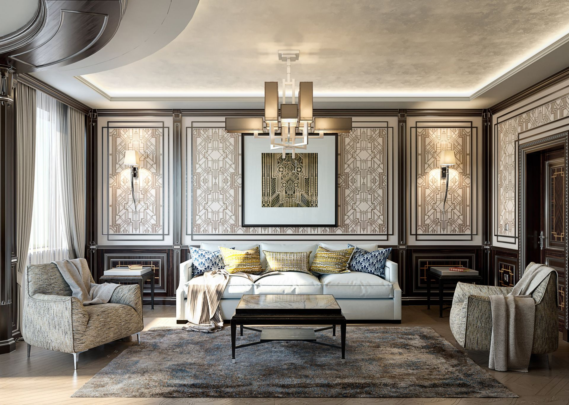 Neoclassical style living room