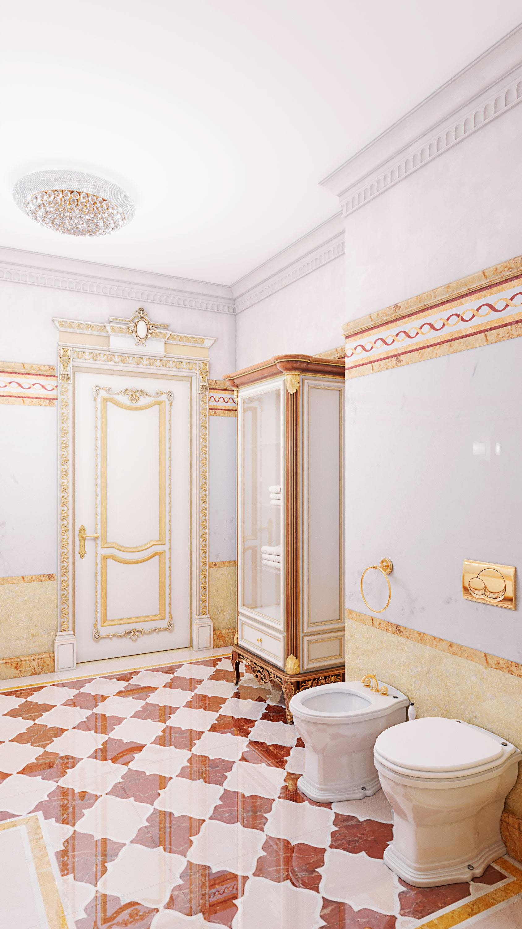 Design project of a bathroom in classic style