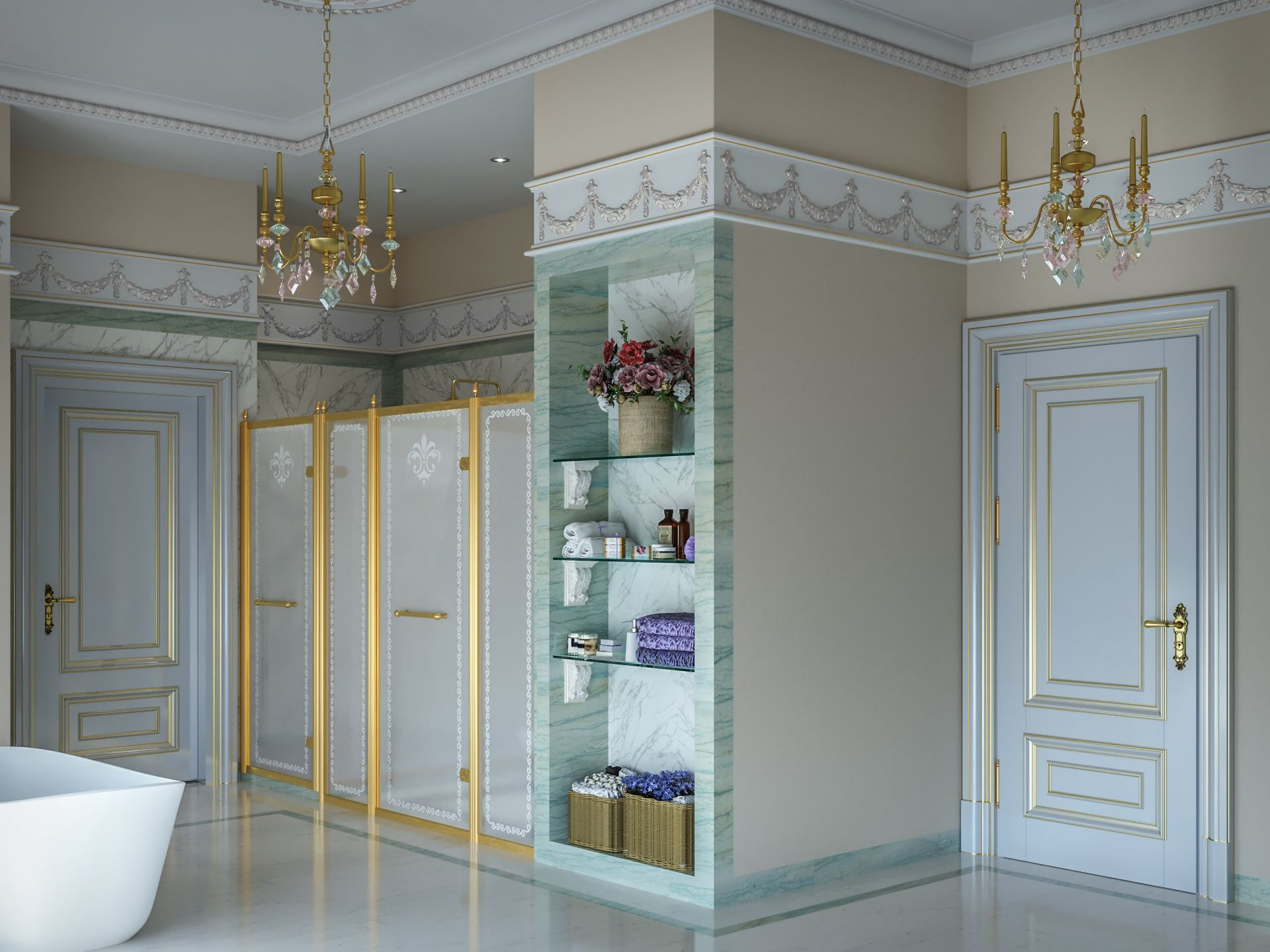 Luxurious bathroom design in neoclassical style