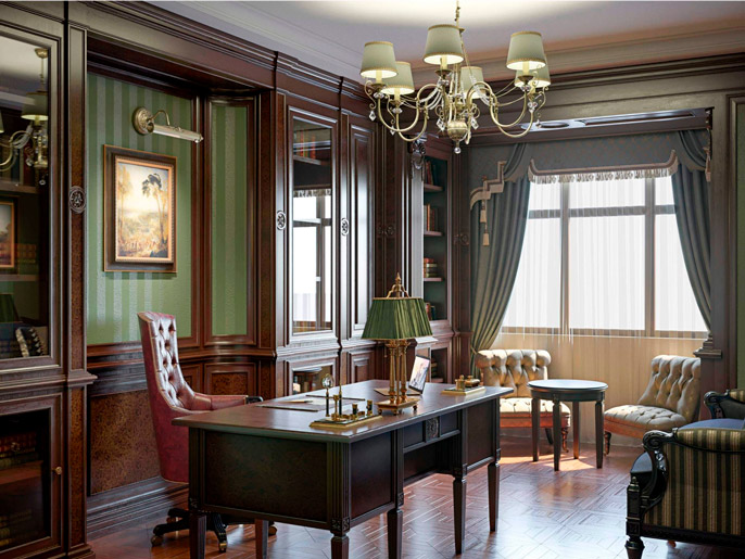 Natural wood furniture. Classical-style green study