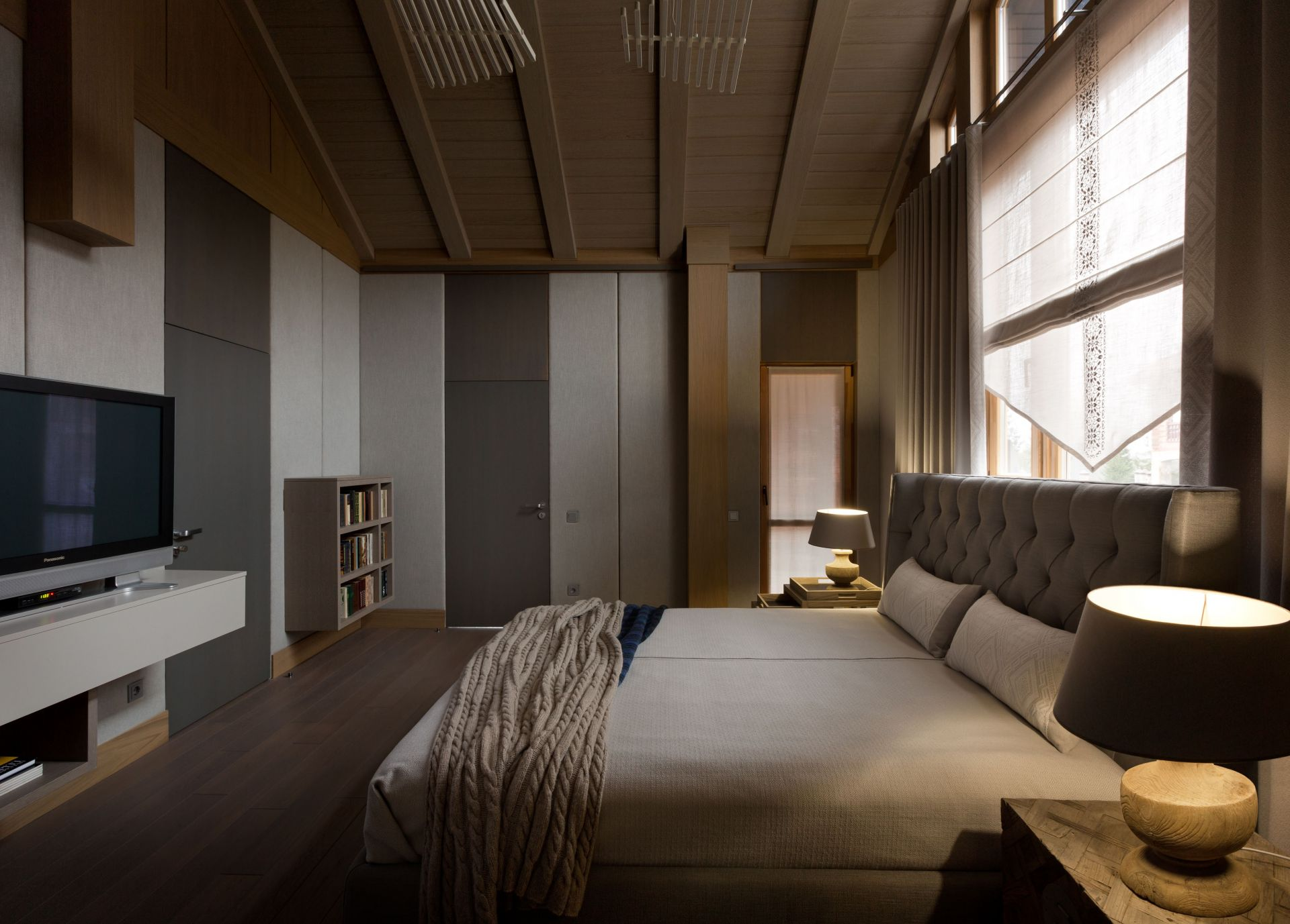 Wood, Modern bedroom with timbered interior