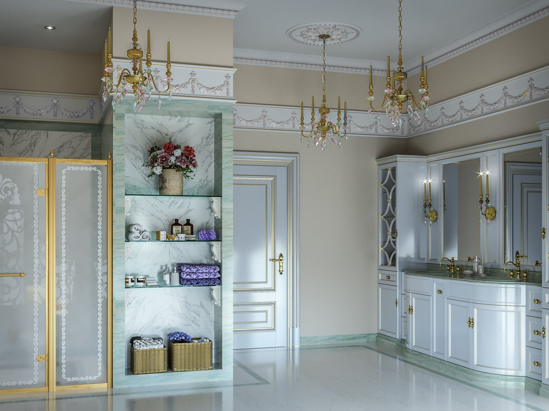 Design, Neoclassical style bathroom