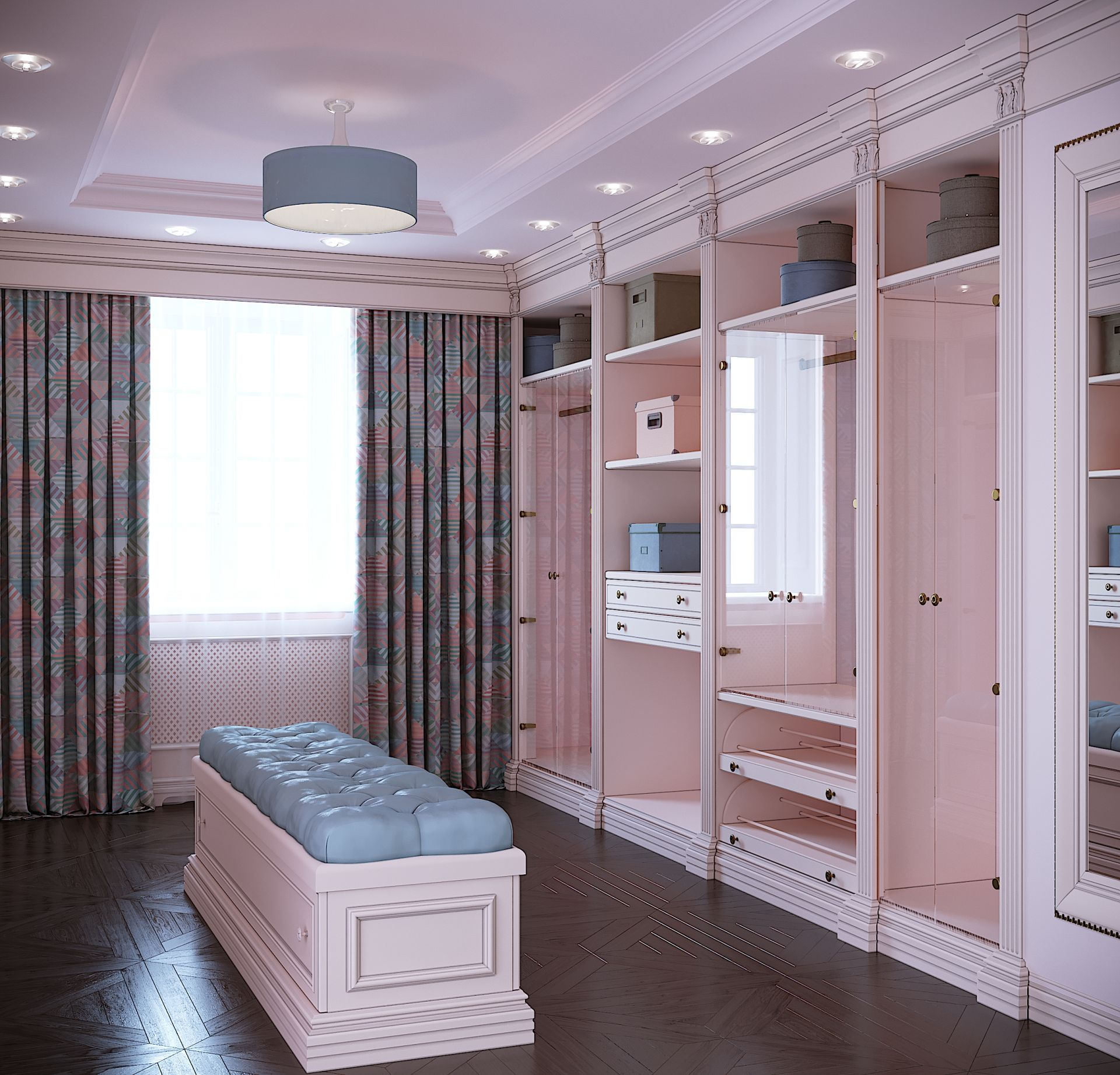 Wood, Neoclassical-style dressing room