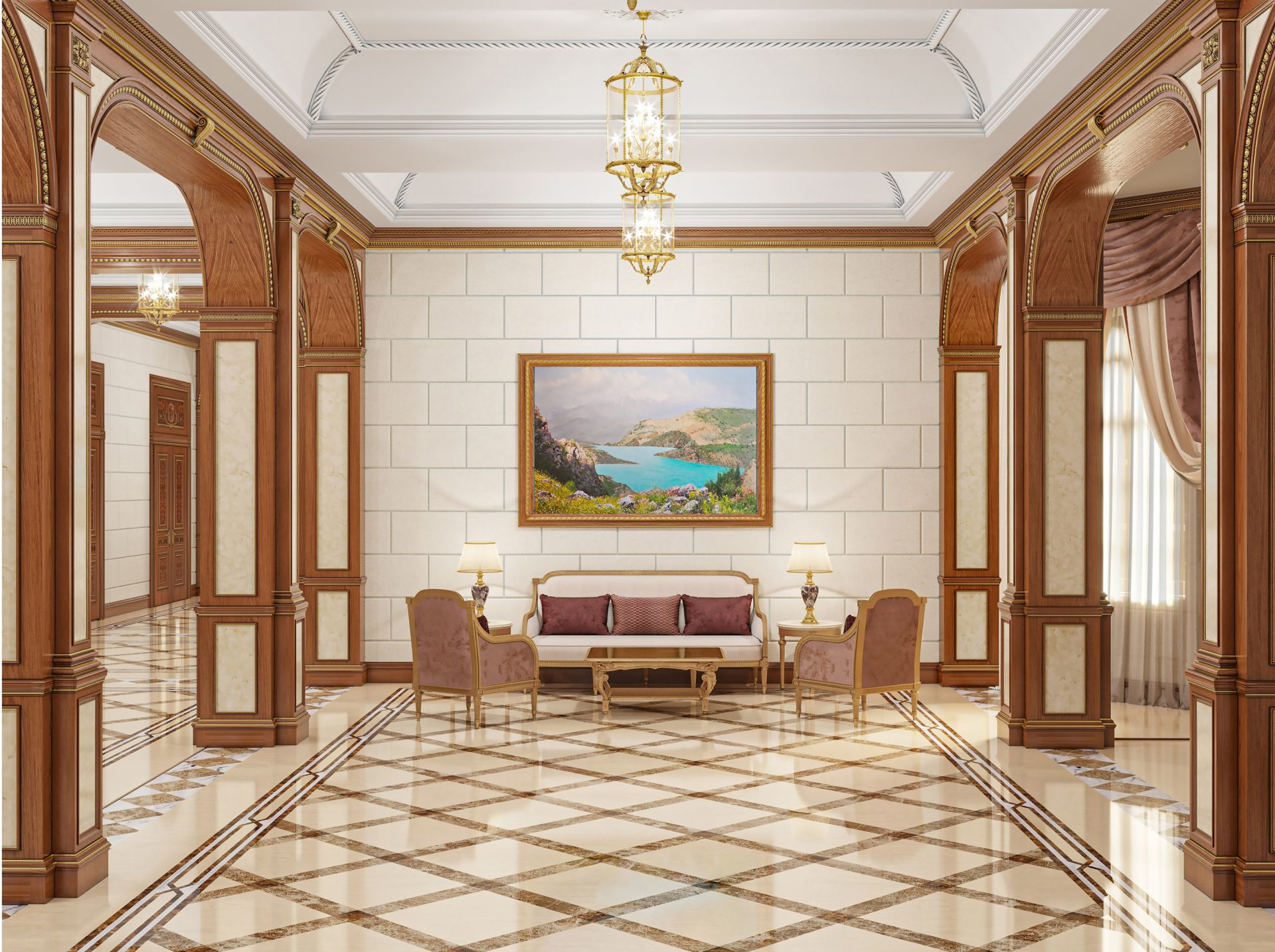 Design, Neoclassical-style hall interior
