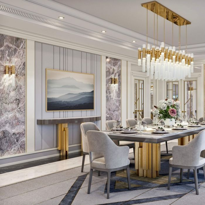 Interior design of the living-dining room in the Hilton Hotel